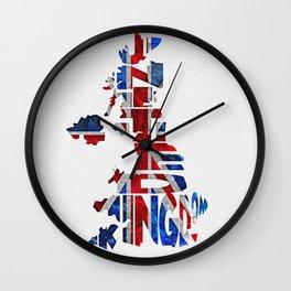 United Kingdom Typographic Flag / Map Art Wall Clock