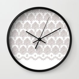 Off-White Damask Chenille with Lace Edge Wall Clock
