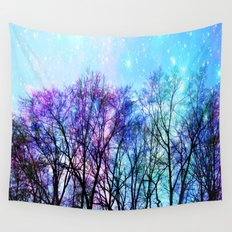 Black Trees Playful Pastels Space Wall Tapestry