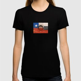 Old Vintage Acoustic Guitar with Chilean Flag T-shirt