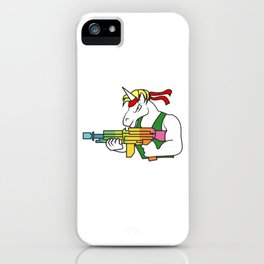 Unicorn  fighter soldier muscles weapon shooting rainbow rambo gift idea iPhone Case