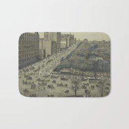 Vintage Pictorial Map of Central Park, 5th Avenue & 59th Street (1886) Bath Mat