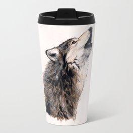 Grey wolf Travel Mug