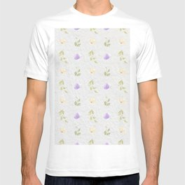 Lilac green hand painted floral leaves pattern T-shirt