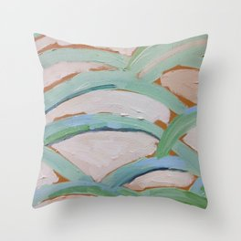 Brush Stokes Leaves Throw Pillow