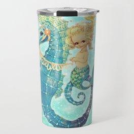 Glitter Mermaid Seahorse Travel Mug