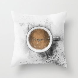 Coffee Heartbeat Throw Pillow