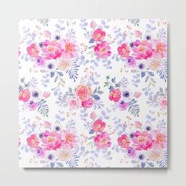 Pink lavender watercolor hand painted roses floral Metal Print