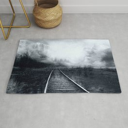 Railway, abstract black and white Rug