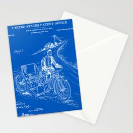 Motorcycle Sidecar Patent - Blueprint Stationery Cards