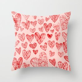 Wire Hearts Pattern in Pink Throw Pillow
