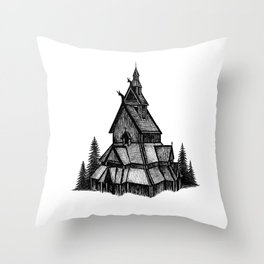 Borgund Stave Church Throw Pillow