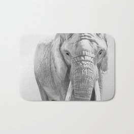 Elephant Photography | Wildlife Art | African | Nature | Animal Photography | Black and White Bath Mat