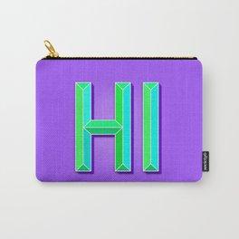 """""""HI"""" 3D Letters (Deep Violet Purple, Mint Green) Carry-All Pouch"""