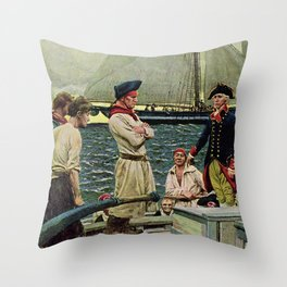 """American Privateer Taking British Ship"" by Howard Pyle Throw Pillow"