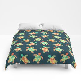 Cute Flower Child Hippy Turtles Comforters
