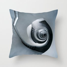 Spiral staircase in grey and blue tones Throw Pillow