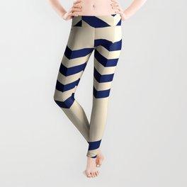 Offset Thin Dark Blue Chevron Stripes on Cream Leggings