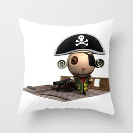 Pirate on Boat Throw Pillow