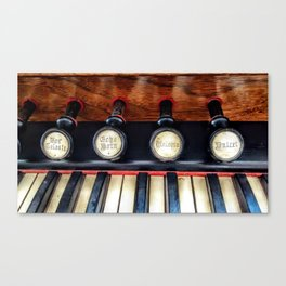 Antique Organ Stops and Piano Keys Photograph Canvas Print