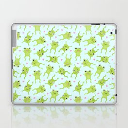 Kawaii Happy Frogs on Blue Laptop & iPad Skin