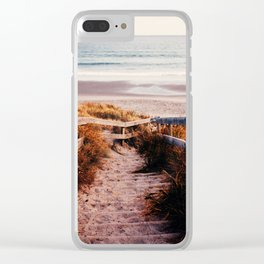 Lonely beach Clear iPhone Case