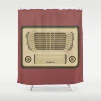 radio Shower Curtains featuring Vintage Radio by Florian Rodarte