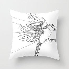 Embroidered Bird Throw Pillow