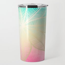 Gold Flower on Turquoise & Pink Watercolor Travel Mug