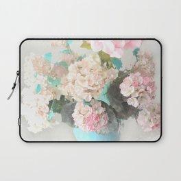 Shabby Chic Hydrangea Flowers Pink White Aqua Blue Laptop Sleeve
