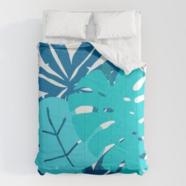 Contemporary Blue Palm Leaves Chic Graphic Art Design Comforters