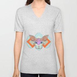 Geometric Hairless Cat Unisex V-Neck