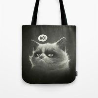 grumpy Tote Bags featuring No! by Dr. Lukas Brezak