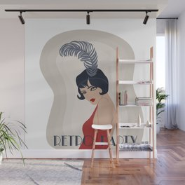 Retro Party Art Deco Girl Picture Wall Mural