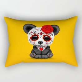 Red Day of the Dead Sugar Skull Panda Rectangular Pillow