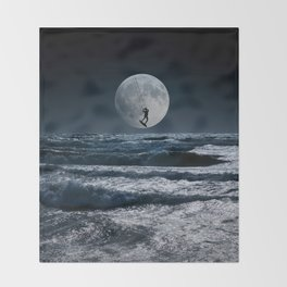 Kitesurfer in the moon in blue night sky horizon Throw Blanket