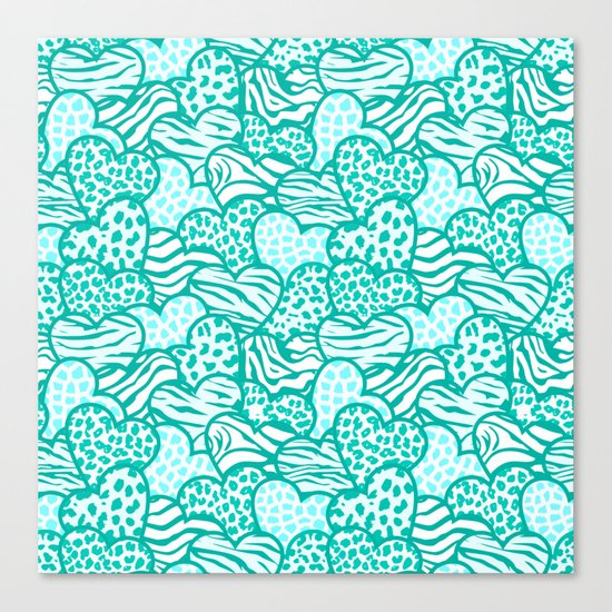 Wild turquoise hearts Canvas Print