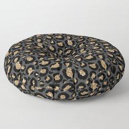 Black Gold Leopard Print Pattern Floor Pillow