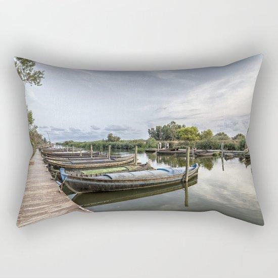 Boats in a lagoon port Rectangular Pillow