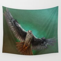 falcon Wall Tapestries featuring Falcon by ED Art Studio