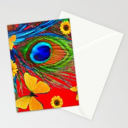 PEACOCK FEATHERS, YELLOW BUTTERFLIES, SUNFLOWERS RED ART Stationery Cards