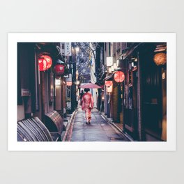 Geisha In Kyoto Art Print