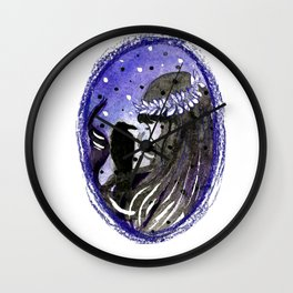 dark brunette witch with a crow Wall Clock