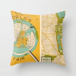 New York Worlds Fair 1939 Throw Pillow