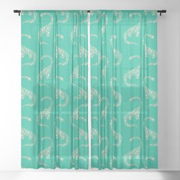 Floral Brontosaurus Sheer Curtain