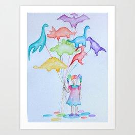 Dino Balloons Art Print