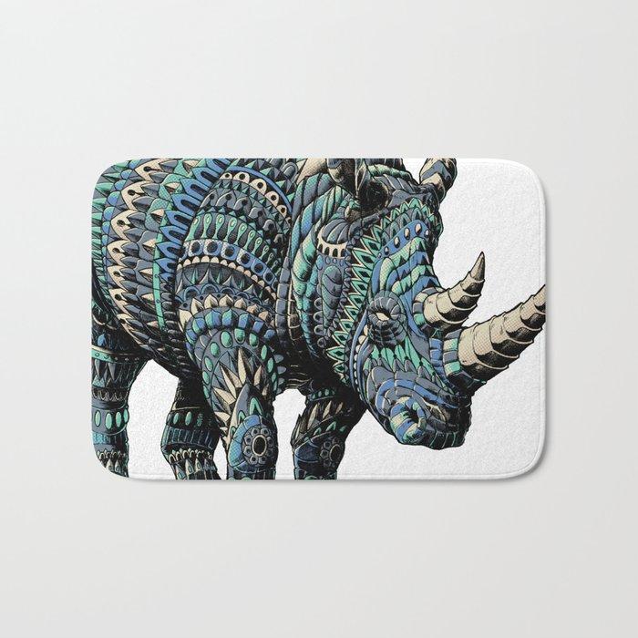 Rhinoceros (Color Version) Bath Mat