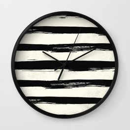 Tribal Paint Stripes Black and Cream Wall Clock