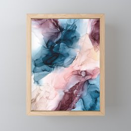 Pastel Plum, Deep Blue, Blush and Gold Abstract Painting Framed Mini Art Print