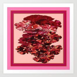 Cranberry-Pink Color Floral Brown Pattern Art Print
